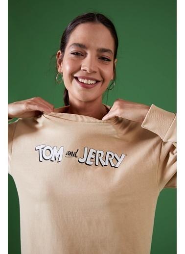 DeFacto Tom ve Jerry Lisanslı Relax Fit Tunik Sweat Bej